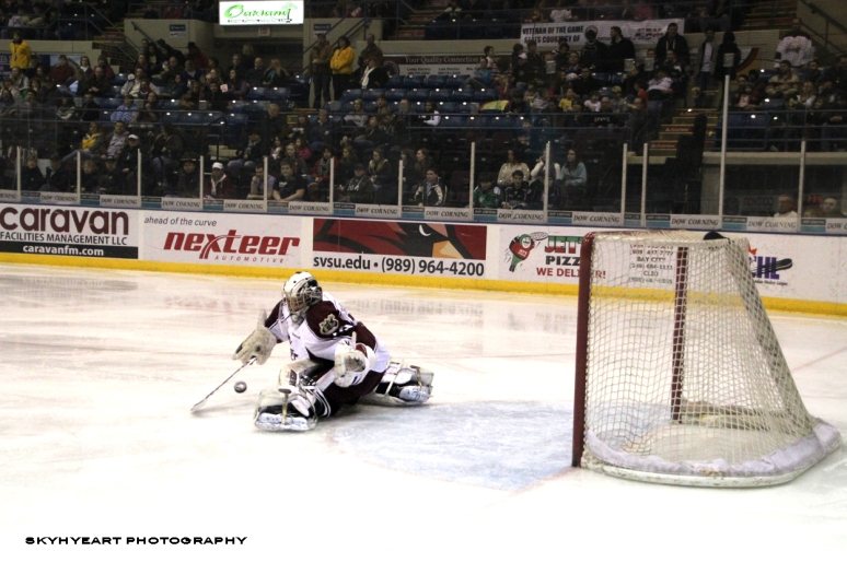 Peterborough Petes Goalie Blocked the Goal